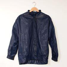 True Vintage 80's Batwing Leather Bomber Jacket Blue Coat Women's Large UK 16