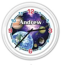 Space Galaxy SILENT Wall Clock PERSONALIZED Planets Moon Stars Boys Bedroom GIFT