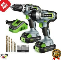 WORKPRO 20V Cordless Drill Combo Kit, Drill Driver and Impact Driver with 2x 2.0