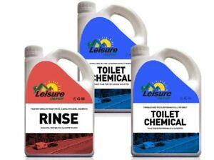 Leisure Depot Toilet Chemical Triple Pack 4 Litres Blue 2 Litre Pink Rinse