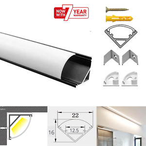 ATOM LED Strip Aluminium Corner Profile Milky Cover Cabinet Corner Profile Black