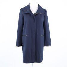 Navy blue ANN TAYLOR black faux leather trim long sleeve zipper front coat S