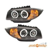 HEADLIGHTS BMW 1 SERIES E81 E82 E87 E88 2004-2011 BLACK PROJECTOR ANGEL EYES