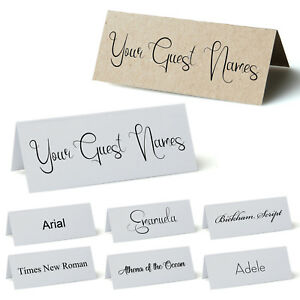 Personalised Place Cards, Table names for Weddings, Parties. White or Kraft Card