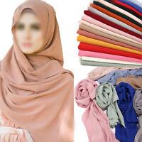 Women Ladies Crinkle Chiffon Hijab Scarf Shawls Muslim Fashion Plain Head Wraps