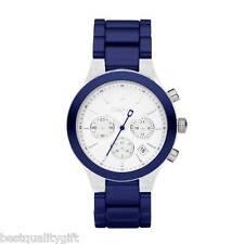 NEW DKNY METALLIC BLUE ALUMINUM STRAP CHRONOGRAPH WATCH-NY8265