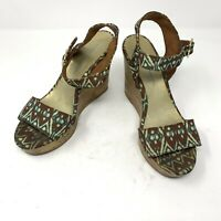 Christian Siriano For Payless Womens Wedges Size 7 Boho Printed Open Toe Shoes