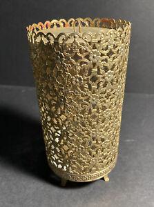Vtg Hollywood Regency Glam Gold Filigree Candle Holder W/ Lid & Glass Insert