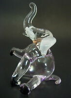 Glass ELEPHANT, Tinted Purple Ornament, Circus Animal, Blown Glass Figure, Gift