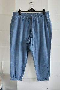 J Crew Point Sur light blue summer trousers with elastic waist and cuffs Size 18