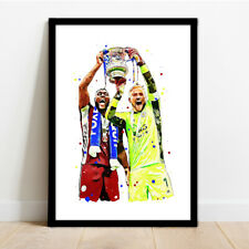 More details for leicester city - fa cup - kasper schmeichel & wes morgan art print poster!