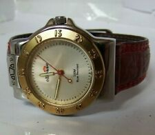 LADIES ELLESSE 03-0062 TWO TONE STAINLESS STEEL WATCH.RED STRAP. SWISS MOVT. GWO