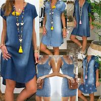 Summer Women's Ladies Casual V Neck Denim Party Dresses Short Sleeve Swing Dress