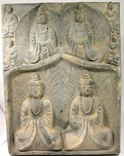 HUGE Medieval Buddhist Sintered Clay Bodhisattva Tile Temple Shrine Plaque AD999