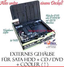 EXTERNES USB GEHÄUSE FÜR CD DVD DVD-RW GLEICHZEITIG S-ATA SATA HDD FESTPLATTE OK