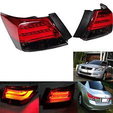 2008-12 YEAR FITS HONDA ACCORD SEDAN 4DOOR LED TAIL LIGHT BMW STYLE RED BLACK.