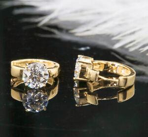 4Ct Round Cut Moissanite Diamond Huggie Hoop Earrings 14K Yellow Gold Finish