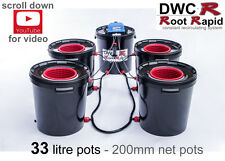 4 x 33L POT DWC R ROOT RAPID DEEP WATER CULTURE Bubbler Bubble Hydroponics iws