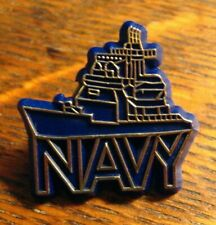 USN Lapel Pin - Vintage United States Military Ship Boat Sailor Blue Gold Badge