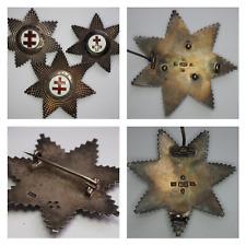 More details for 3 x masonic silver knights templar breast star jewel victorian hallmarked