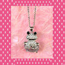 """CC1100010 - Eye catching """"silver"""" pendant with shimmering frog crystal - with bl"""