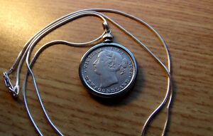 "1882 Victorian Newfoundland 20c Silver Coin Pendant on 22"" Italy Silver Chain"