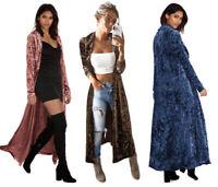 Fashion Womens Long Sleeve Velvet Top Maxi Cardigan Outwear Coat Jacket Trench