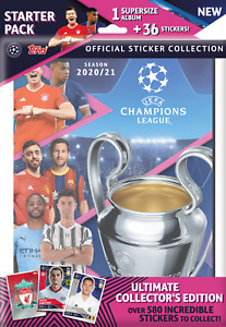 2020-21 Topps Champions League Sticker Starter Pack Supersize Album + 36 Sticker