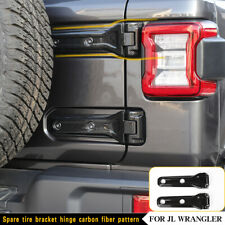 Tailgate Hinged Spare Tire Bracket Cover Pair Carbon Fiber For 18+ Jeep Wrangler