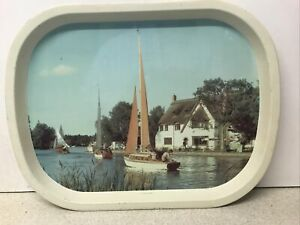 Vintage Worcester Ware Serving Tray RIVER BURE AT HORNING FERRY Scene