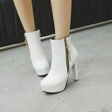 Women Fashion Round Toe Metal Decor Zip Pumps High Heels Ankle Boot Plus SZ