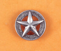 LOT 10PCS 25*25MM WESTERN TEXAS RAISED STAR ANTIQUE SILVER LEATHERCRAFT CONCHOS