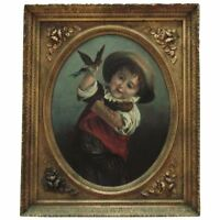 19th c. Victorian Portrait Oil Painting Boy & Birds after Jean-Baptiste Greuze