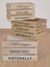 Holzkisten 3er-Set Holzkiste Allzeckkiste Kisten Aufbewahrungsbox Farbe: Natur