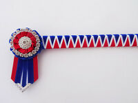Red Blue & White deluxe Cornerstone Browband - velvet show browband - £28.49