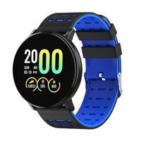 Frauen Männer Bluetooth Smart Watch Armbanduhr Sitzende Erinnerung Blau