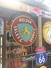 HOLDEN SALES SERVICE TIN METAL SIGN WITH HANGER DBL SIDED  BAR MAN CAVE HOT ROD
