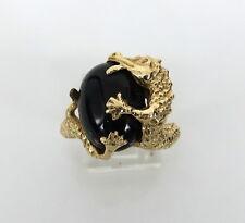 Vintage Onyx & Dragon 14K Yellow Gold Ring Size 9