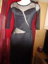 LADIES  BLACK BODY CON(SHEER PANELS)  DRESS  SIZE 1 USED BY AISLINN