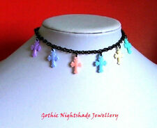 Pastel Cross Choker Necklace, Pastel Goth Necklace, Kawaii Jewellery, Handmade