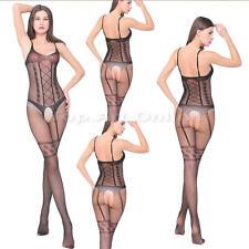 Sexy-Lingerie-Womens-Lace-Dress-Underwear-Babydoll-Sleepwear-G-string Black