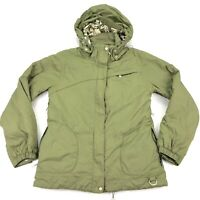 NILS Women's Ski Jacket Removable Hoodie Full Zip Military Green Lined • MEDIUM