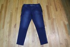 KATE AND MALLORY PLEATHER SIDE SKINNY JEANS DARK SIZE 14 NEW