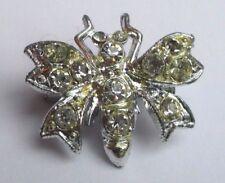 Belle petite Broche bijou vintage argenté originale abeille cristaux 2133
