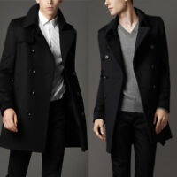 Men's Woolen Double Breasted Long Trench Coat Jacket Peacoat Winter Overcoat USA