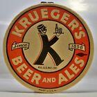 """Krueger beer coaster - 4"""" - K-Man waiter - New Jersey"""