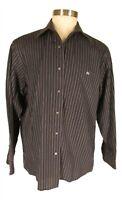 Lacoste Mens Black Stripe Long Sleeve Cotton Shirt XL 45 France Made