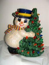 Vintage Christmas Snowman hugging ceramic lighted Christmas tree