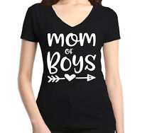 Mom of Boy Women's V-Neck T-shirt Mother's Day Family Love Mom Gift Tee
