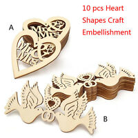 10pcs Unfinished Wooden Laser Cut Heart Shapes Craft Embellishments Decor HOT JI